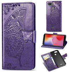 Embossing Mandala Flower Butterfly Leather Wallet Case for Mi Xiaomi Redmi 6 - Dark Purple
