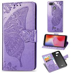 Embossing Mandala Flower Butterfly Leather Wallet Case for Mi Xiaomi Redmi 6 - Light Purple