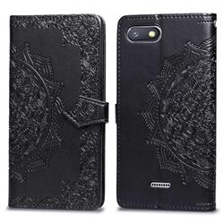 Embossing Imprint Mandala Flower Leather Wallet Case for Mi Xiaomi Redmi 6 - Black