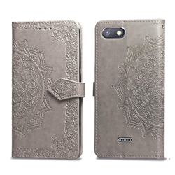 Embossing Imprint Mandala Flower Leather Wallet Case for Mi Xiaomi Redmi 6 - Gray