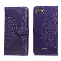 Embossing Imprint Mandala Flower Leather Wallet Case for Mi Xiaomi Redmi 6 - Purple