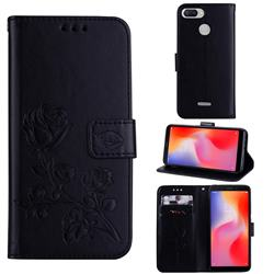 Embossing Rose Flower Leather Wallet Case for Mi Xiaomi Redmi 6 - Black