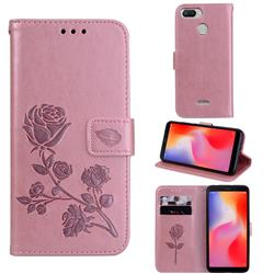 Embossing Rose Flower Leather Wallet Case for Mi Xiaomi Redmi 6 - Rose Gold