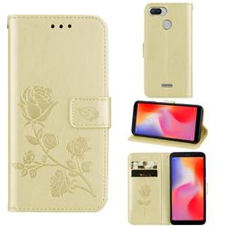Embossing Rose Flower Leather Wallet Case for Mi Xiaomi Redmi 6 - Golden