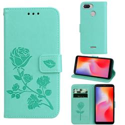 Embossing Rose Flower Leather Wallet Case for Mi Xiaomi Redmi 6 - Green