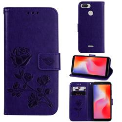 Embossing Rose Flower Leather Wallet Case for Mi Xiaomi Redmi 6 - Purple
