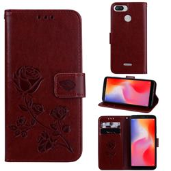 Embossing Rose Flower Leather Wallet Case for Mi Xiaomi Redmi 6 - Brown