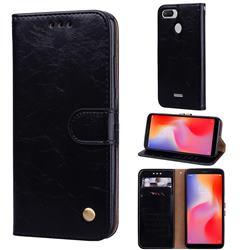 Luxury Retro Oil Wax PU Leather Wallet Phone Case for Mi Xiaomi Redmi 6 - Deep Black