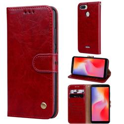 Luxury Retro Oil Wax PU Leather Wallet Phone Case for Mi Xiaomi Redmi 6 - Brown Red