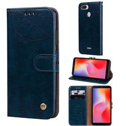 Luxury Retro Oil Wax PU Leather Wallet Phone Case for Mi Xiaomi Redmi 6 - Sapphire