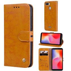 Luxury Retro Oil Wax PU Leather Wallet Phone Case for Mi Xiaomi Redmi 6 - Orange Yellow