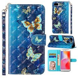 Rankine Butterfly 3D Leather Phone Holster Wallet Case for Mi Xiaomi Redmi 6
