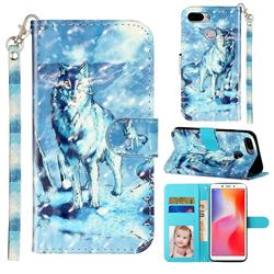 Snow Wolf 3D Leather Phone Holster Wallet Case for Mi Xiaomi Redmi 6