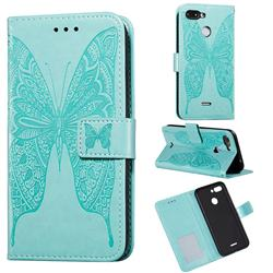 Intricate Embossing Vivid Butterfly Leather Wallet Case for Mi Xiaomi Redmi 6 - Green