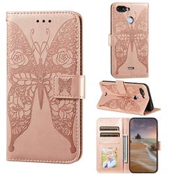 Intricate Embossing Rose Flower Butterfly Leather Wallet Case for Mi Xiaomi Redmi 6 - Rose Gold