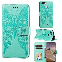 Intricate Embossing Rose Flower Butterfly Leather Wallet Case for Mi Xiaomi Redmi 6 - Green
