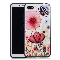 Pink Flower 3D Embossed Relief Black Soft Back Cover for Mi Xiaomi Redmi 6A