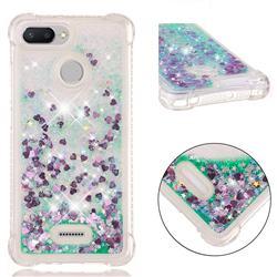 Dynamic Liquid Glitter Sand Quicksand TPU Case for Mi Xiaomi Redmi 6A - Green Love Heart