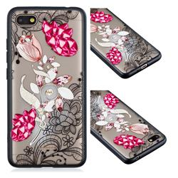Tulip Lace Diamond Flower Soft TPU Back Cover for Mi Xiaomi Redmi 6A