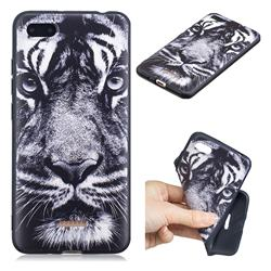 White Tiger 3D Embossed Relief Black TPU Cell Phone Back Cover for Mi Xiaomi Redmi 6A