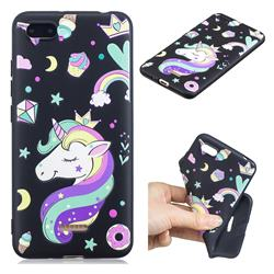 Candy Unicorn 3D Embossed Relief Black TPU Cell Phone Back Cover for Mi Xiaomi Redmi 6A