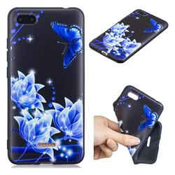 Blue Butterfly 3D Embossed Relief Black TPU Cell Phone Back Cover for Mi Xiaomi Redmi 6A