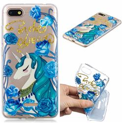 Blue Flower Unicorn Clear Varnish Soft Phone Back Cover for Mi Xiaomi Redmi 6A