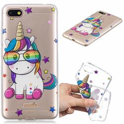 Glasses Unicorn Clear Varnish Soft Phone Back Cover for Mi Xiaomi Redmi 6A