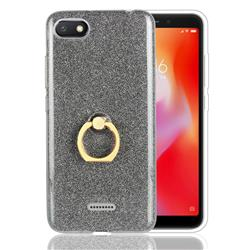 Luxury Soft TPU Glitter Back Ring Cover with 360 Rotate Finger Holder Buckle for Mi Xiaomi Redmi 6A - Black