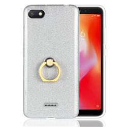 Luxury Soft TPU Glitter Back Ring Cover with 360 Rotate Finger Holder Buckle for Mi Xiaomi Redmi 6A - White
