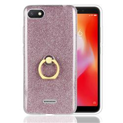 Luxury Soft TPU Glitter Back Ring Cover with 360 Rotate Finger Holder Buckle for Mi Xiaomi Redmi 6A - Pink