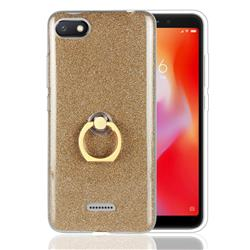 Luxury Soft TPU Glitter Back Ring Cover with 360 Rotate Finger Holder Buckle for Mi Xiaomi Redmi 6A - Golden