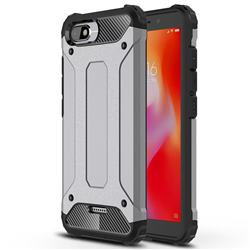 King Kong Armor Premium Shockproof Dual Layer Rugged Hard Cover for Mi Xiaomi Redmi 6A - Silver Grey