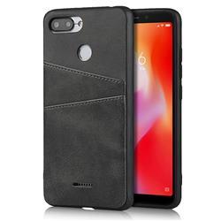 Simple Calf Card Slots Mobile Phone Back Cover for Mi Xiaomi Redmi 6A - Black
