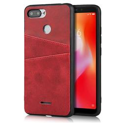 Simple Calf Card Slots Mobile Phone Back Cover for Mi Xiaomi Redmi 6A - Red
