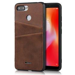 Simple Calf Card Slots Mobile Phone Back Cover for Mi Xiaomi Redmi 6A - Coffee
