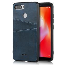 Simple Calf Card Slots Mobile Phone Back Cover for Mi Xiaomi Redmi 6A - Blue