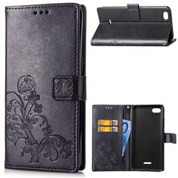 Embossing Imprint Four-Leaf Clover Leather Wallet Case for Mi Xiaomi Redmi 6A - Black