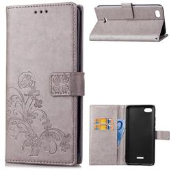 Embossing Imprint Four-Leaf Clover Leather Wallet Case for Mi Xiaomi Redmi 6A - Grey