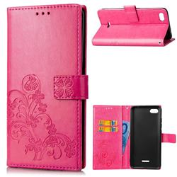 Embossing Imprint Four-Leaf Clover Leather Wallet Case for Mi Xiaomi Redmi 6A - Rose