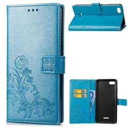 Embossing Imprint Four-Leaf Clover Leather Wallet Case for Mi Xiaomi Redmi 6A - Blue
