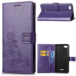 Embossing Imprint Four-Leaf Clover Leather Wallet Case for Mi Xiaomi Redmi 6A - Purple