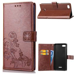 Embossing Imprint Four-Leaf Clover Leather Wallet Case for Mi Xiaomi Redmi 6A - Brown
