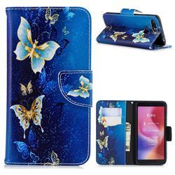 Golden Butterflies Leather Wallet Case for Mi Xiaomi Redmi 6A