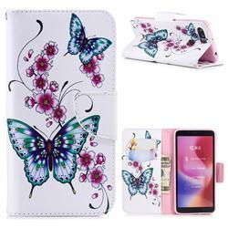 Peach Butterflies Leather Wallet Case for Mi Xiaomi Redmi 6A
