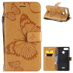 Embossing 3D Butterfly Leather Wallet Case for Mi Xiaomi Redmi 6A - Yellow