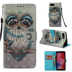 Sweet Gray Owl 3D Painted Leather Wallet Case for Mi Xiaomi Redmi 6A