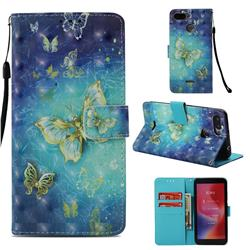Gold Butterfly 3D Painted Leather Wallet Case for Mi Xiaomi Redmi 6A