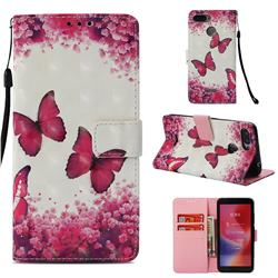 Rose Butterfly 3D Painted Leather Wallet Case for Mi Xiaomi Redmi 6A