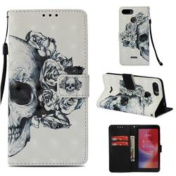 Skull Flower 3D Painted Leather Wallet Case for Mi Xiaomi Redmi 6A